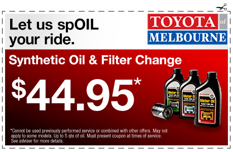 Toyota Oil Change Coupons >> Toyota Service Special Offers Melbourne Fl Serving Palm Bay