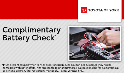 Complimentary Battery Check. Conveniently located in York, PA, our Toyota Service Center proudly serves Hanover, Lancaster and Elizabethtown.
