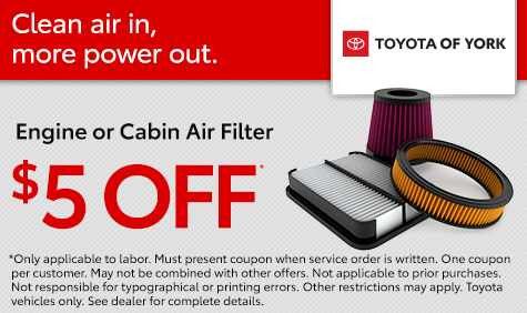 Get $5 off your next engine and cabin air filter at Toyota of York. Located in York, PA, our dealership also serves Hanover, Lancaster and Elizabethtown.